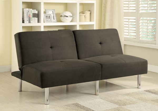 Elegant Charcoal Fabric Armless & Tufted Back Sofa Bed CST-300206