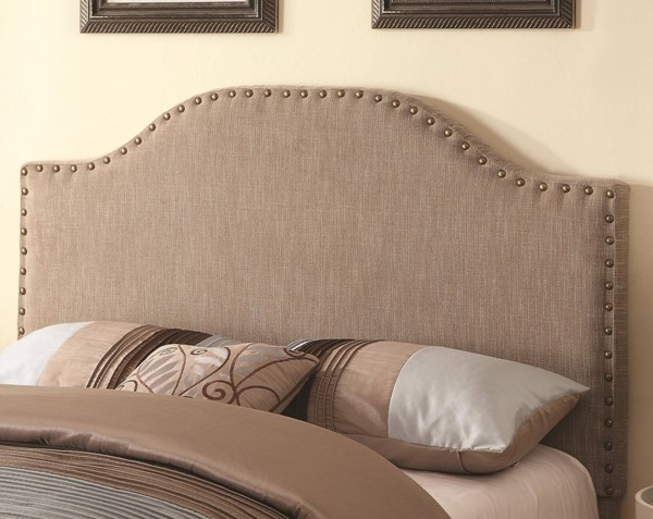 Traditional Taupe Wood Fabric Queen Headboard CST-300223