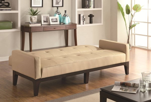 Casual Cream Wood Leather Like Vinyl Sofa Bed CST-300226