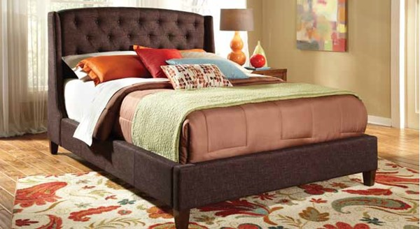 Giada Traditional Deep Brown Wood Fabric Queen Bed CST-300247Q