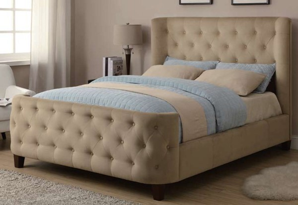 Esther Traditional Beige Microvelvet Wood Fabric Queen Bed CST-300248Q