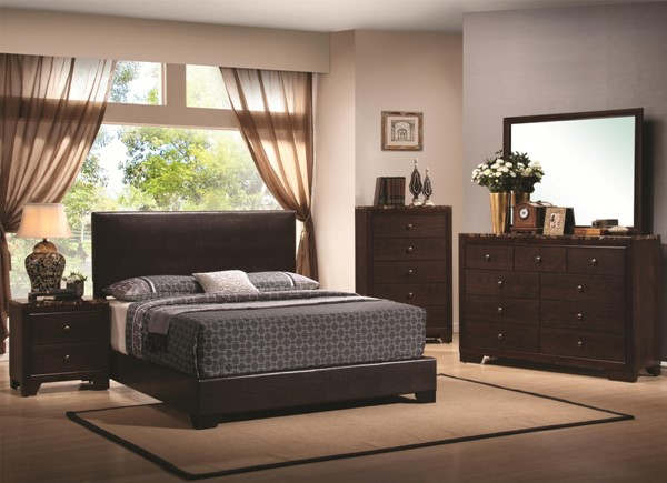 Conner Cappuccino Leatherette 2pc Bedroom Set W/cal King Bed CST-300261-S2