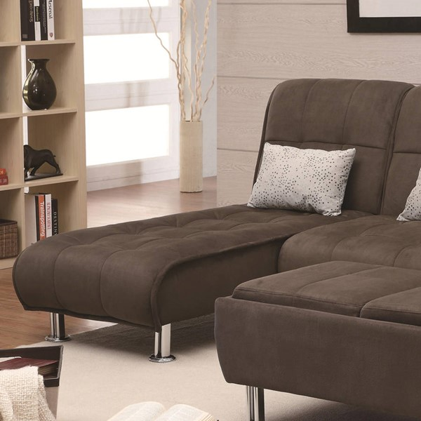Transitional Brown Metal Fabric Cushion Back Chaise CST-300277