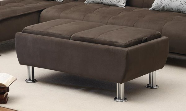Transitional Brown Metal Fabric Rectangle Ottoman CST-300278