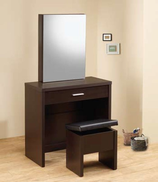 Cappuccino Wood Glass Drawers 2 Piece Vanity Set CST-300289