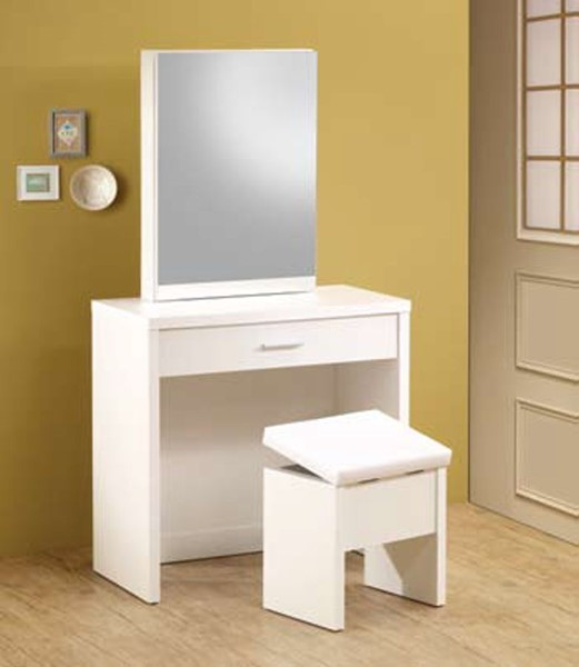 White Wood Glass Drawers 2 Piece Vanity Set CST-300290