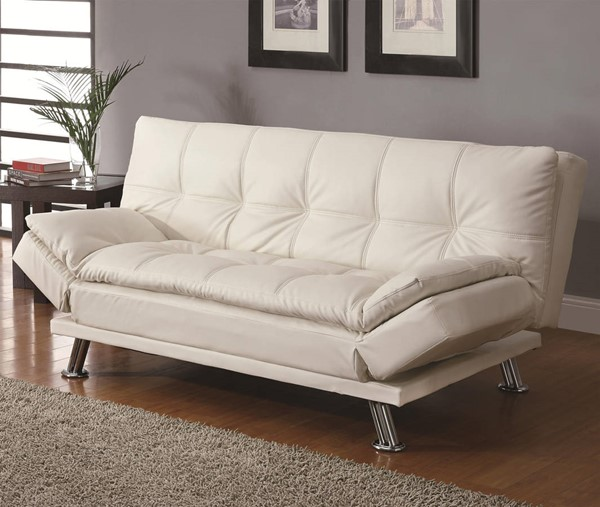 Dilleston White Faux Leather Tufted Back Sofa Bed CST-300291