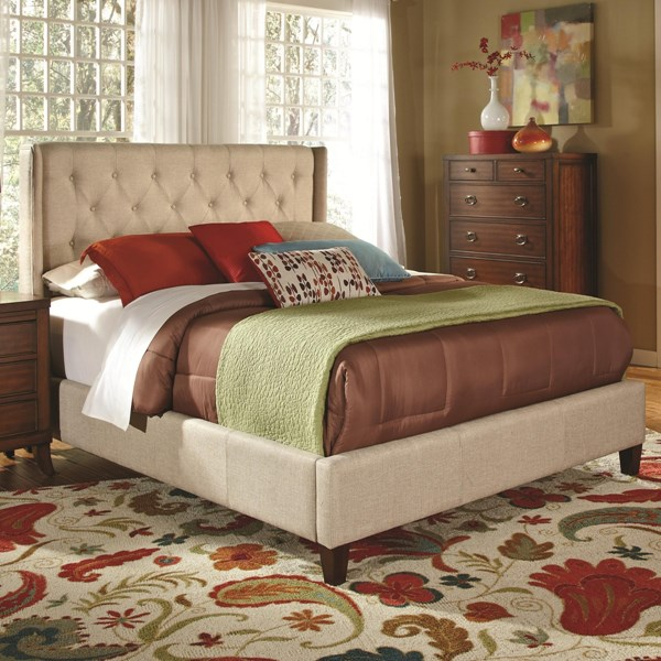 Owen Traditional Oatmeal Wood Fabric Cal King Bed CST-300332KW