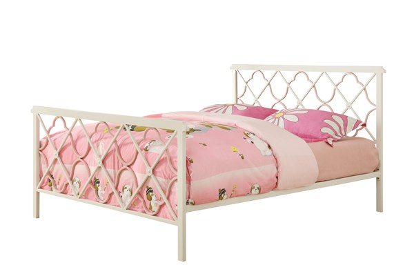Casual White Pink Metal Twin Size Bed CST-300344T