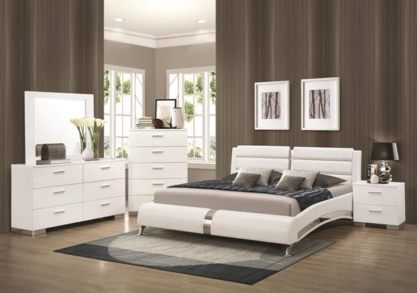 Coaster Furniture Felicity White PU 2pc Bedroom Sets CST-300345-BR-S