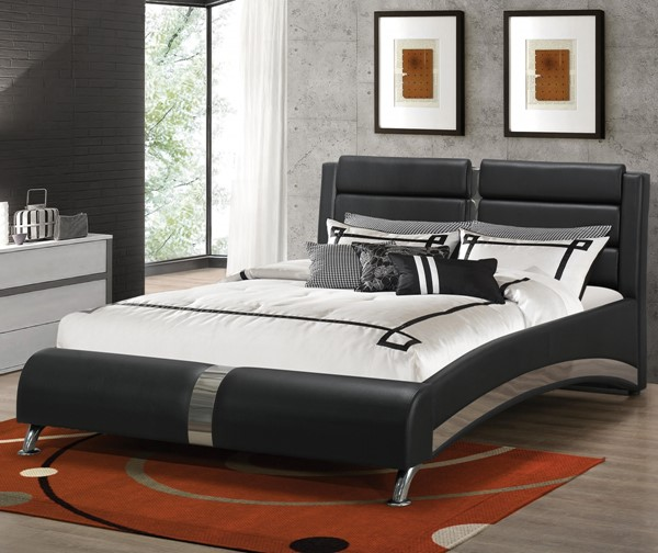 Jeremaine Contemporary Black Metal Fabric King Bed CST-300350KE