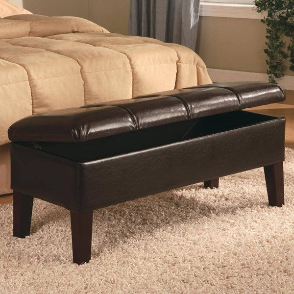 Deep Brown Wood Leather Storage Bench CST-300358