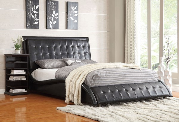 Tully Modern Black Leatherette Queen Bed CST-300362Q