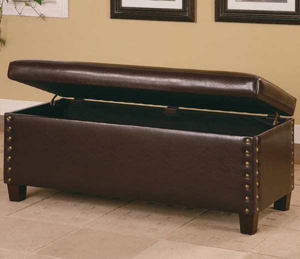 Deep Brown Wood Leather Bench W/nailhead Trim CST-300378