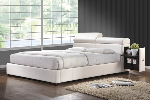 Maxine White Wood Leatherette Queen Bed CST-300379Q
