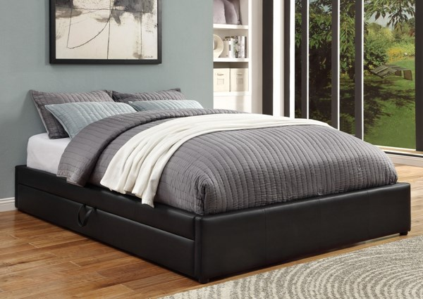 Contemporary Black Wood Leather Queen Bed W/ Storage CST-300386Q