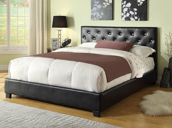 Regina Modern Black Wood Leatherette Queen Platform Bed CST-300391Q