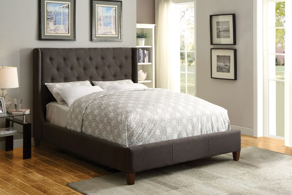 Owen Bed Grey Fabric Wood Upholstered Beds CST-300453-BEDS
