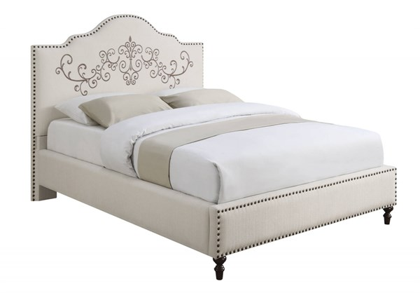 Homecrest Cream Wood Fabric Camelback Headboard Cal King Bed CST-300491KW