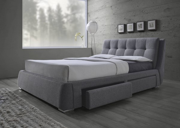 Fenbrook Contemporary Grey Wood Fabric Pillow Top Beds CST-300523-BEDS
