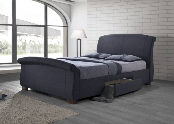 Bristol Grey Wood Fabric Sleigh Storage Beds CST-300524-BEDS