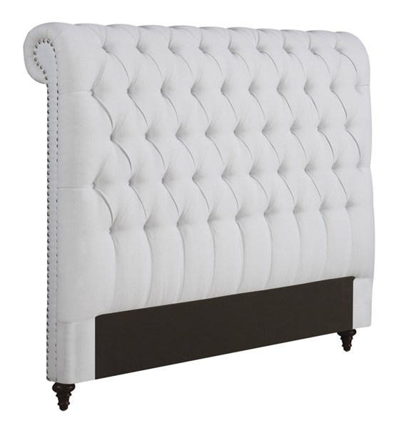 Devon White Wood Fabric Diamond Button Tufted King Headboard w/Frame CST-300526KEB1-FRAME