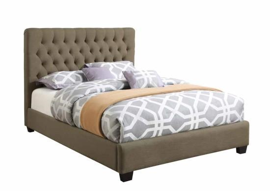 Chloe Traditional Burlap Wood Fabric Twin Bed CST-300528T