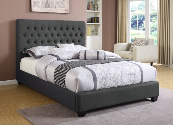 Chloe Traditional Charcoal Wood Fabric Twin Bed CST-300529T