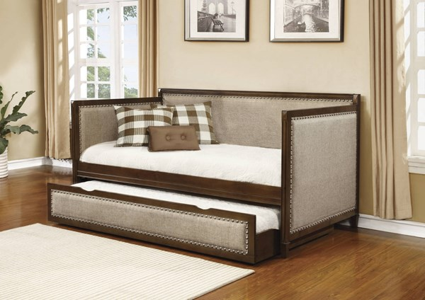 Rich Amber Oatmeal Sating Nailhead Trim Daybed w/Underbed CST-300575