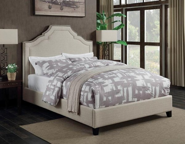 Cantillo Beige Fabric Espresso Solidwood Upholstered Panel Beds CST-301091-BED-VAR