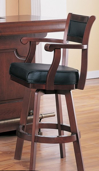 Traditional Cherry Wood Leather Bar Stool CST-3079