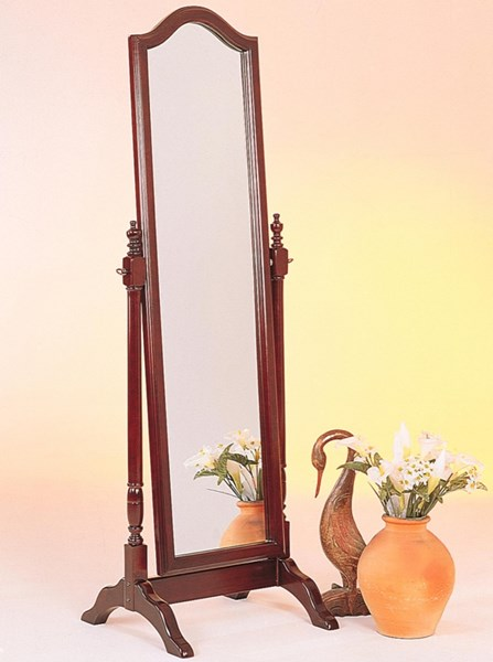 Brown Red Wood Glass Cheval Mirror CST-3103