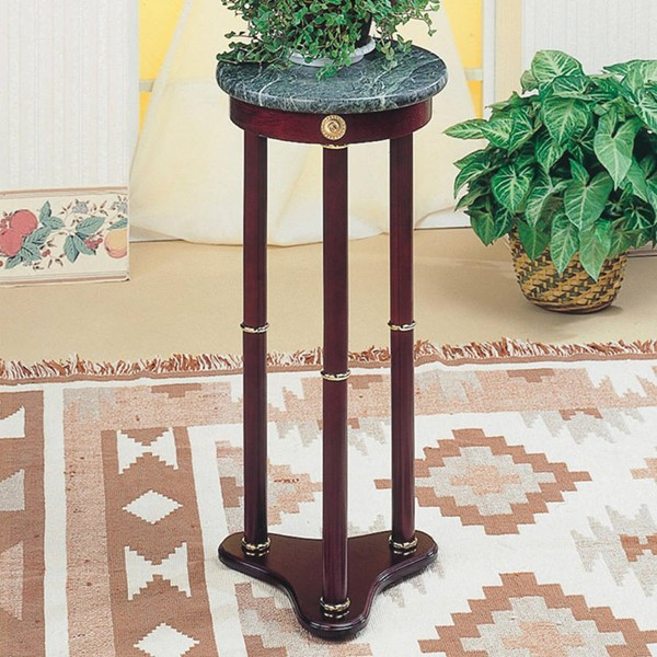 Cherry Green Wood Marble Round Plant Stand CST-3315