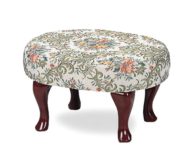 Traditional Beige Green Wood Fabric Upholstery Stool CST-3422