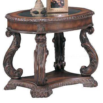 Traditional Antique Brown Wood Glass Round End Table CST-3891
