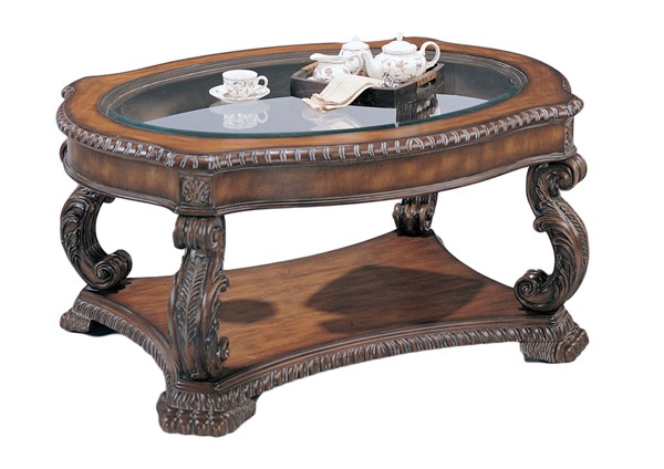Coaster Furniture Antique Brown Wood Glass Coffee Table CST-3892