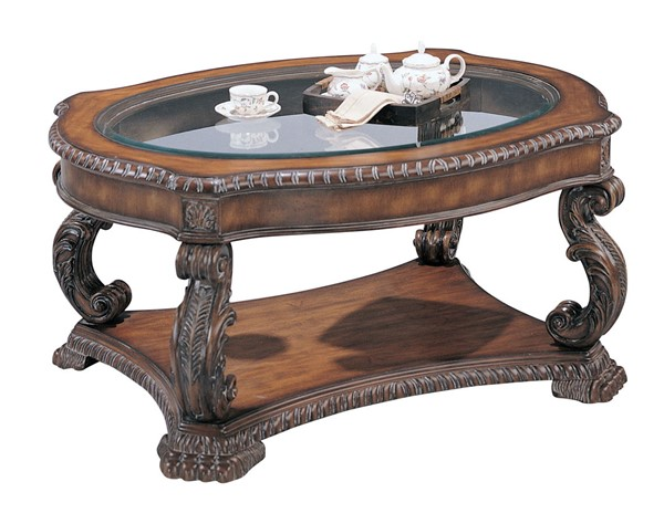 Coaster Furniture Antique Brown Wood Coffee Table CST-3892