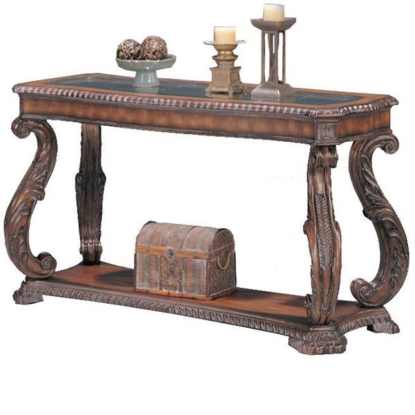 Traditional Antique Brown Wood Glass Rectangle Sofa Table CST-3893