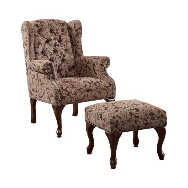 Coaster Furniture Burgundy Fabric Chair and Ottoman CST-3932B