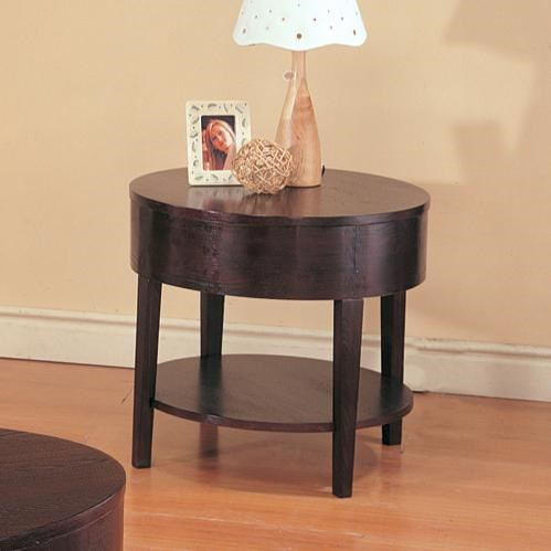 Casual Cappuccino Wood Round End Table CST-3940