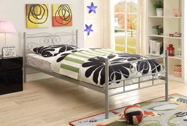 Bailey Youth Cool Gray Metal Twin Bed CST-400154T