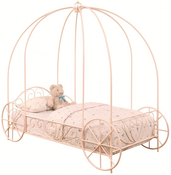 Massi Traditional Pink Metal Canopy Twin Bed CST-400155T