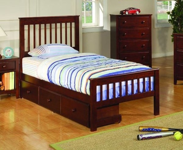 Parker Traditional Cappuccino Wood Twin Slat Bed W/Storage CST-400290TS