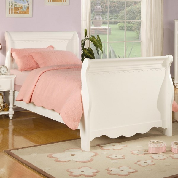 Traditional White Wood Sleigh & Post Twin Bed CST-400360T