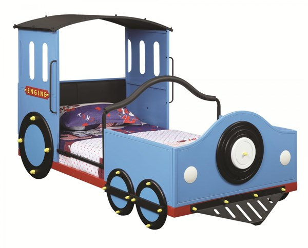 Transitional Blue Metal Leatherette Train Twin Bed CST-400411