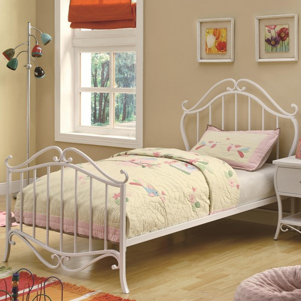 Bella Elegant White Metal Twin Bed CST-400521T