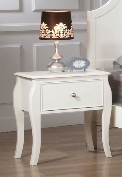 Dominique White Wood Night Stand CST-400562