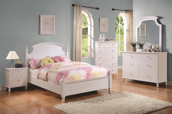 Bethany Transitional White Wood 4pc Bedroom Set w/Full Bed CST-400681-KBR-S2