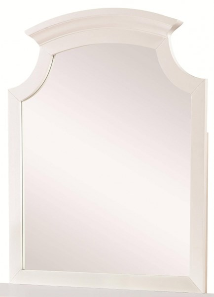 Bethany Transitional White Wood Glass Mirror CST-400684