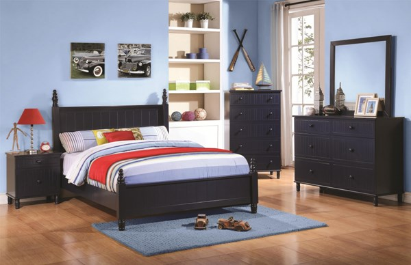 Zachary Transitional Navy Wood 2pc Kids Bedroom Set W/Twin Bed CST-400691-KBR-S1